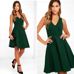 Lulu's Ponte Knit Sleeveless Skater Dress Green M